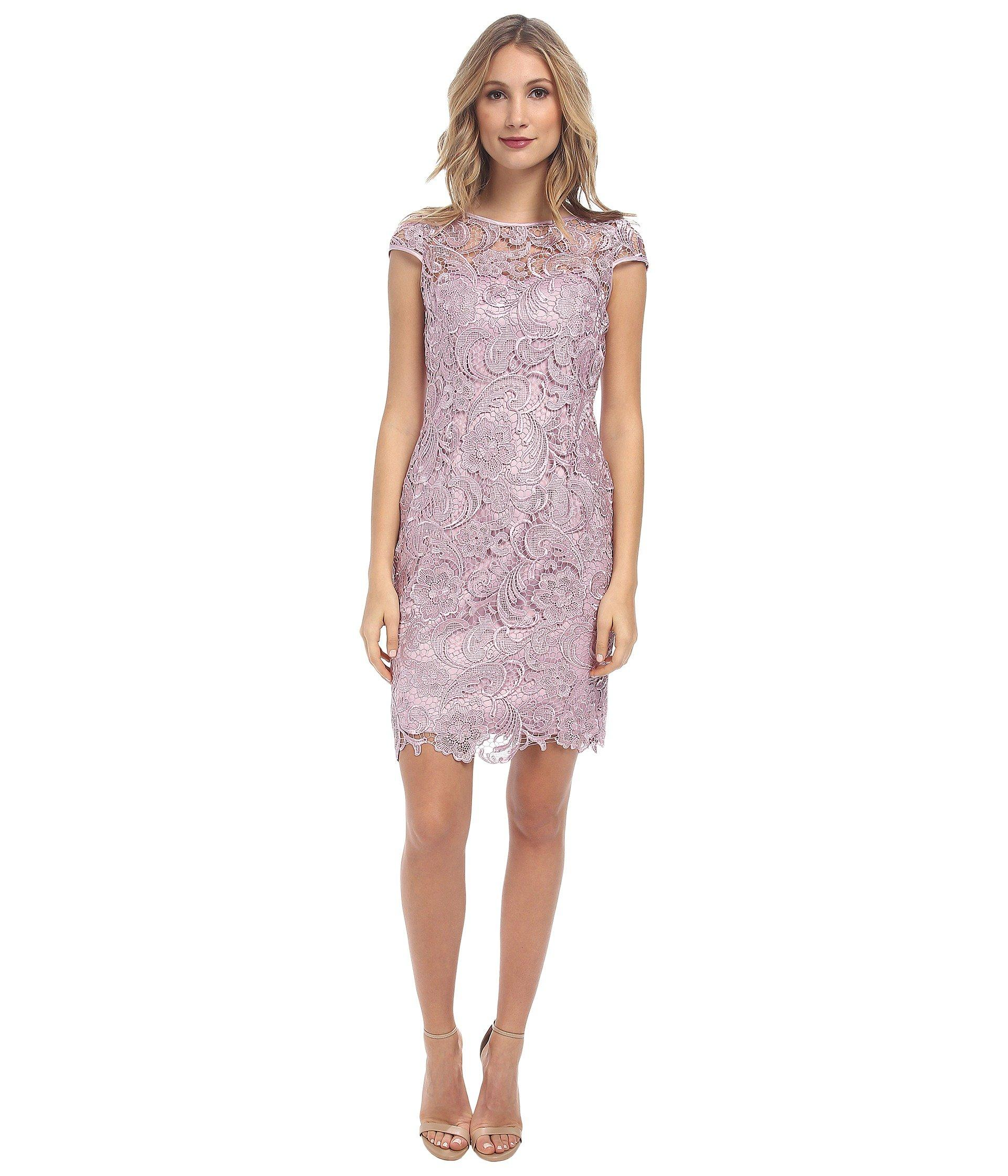 Adrianna Papell Cap Sleeve Dress In Icy Lilac