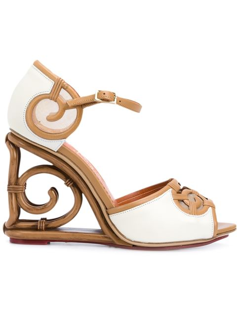 Charlotte Olympia Rattan Wedge Sandals In Brown