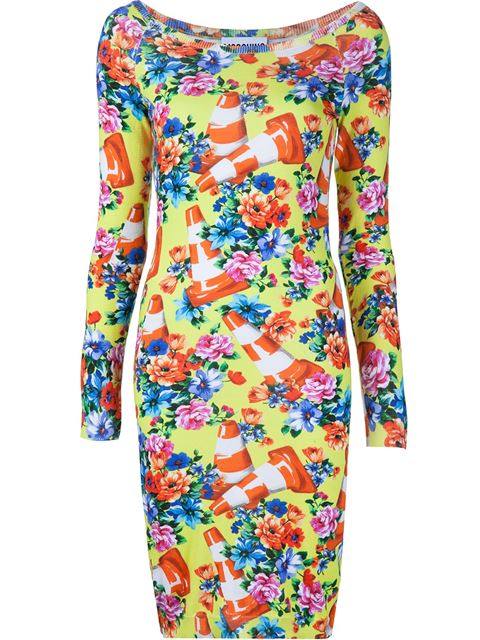 Moschino Floral And Traffic Cone Dress