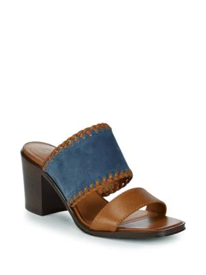 Frye Ashley Suede And Leather Mules In Aqua Whiskey