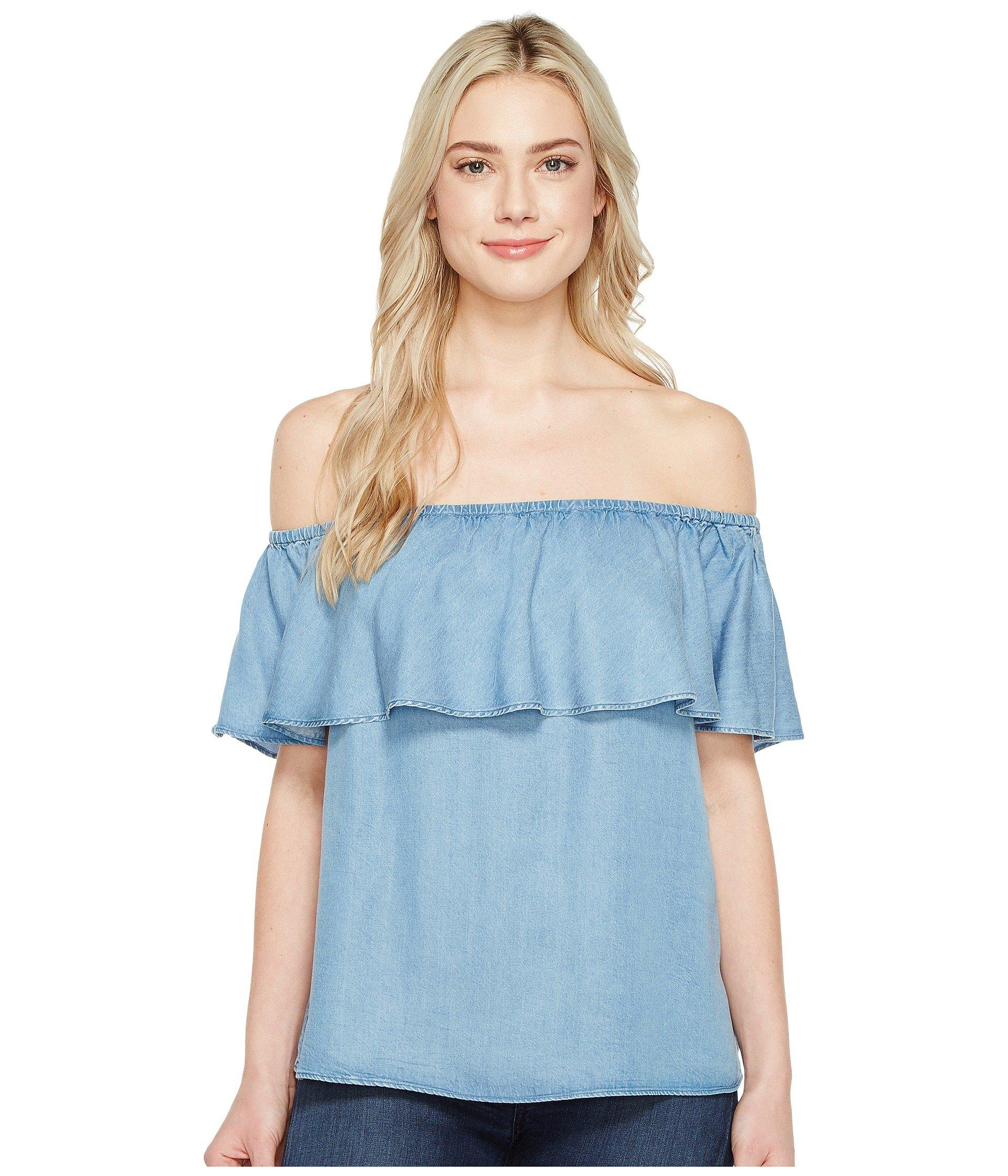 7 For All Mankind Off Shoulder Ruffled Denim Top In Pacific Blue Sky