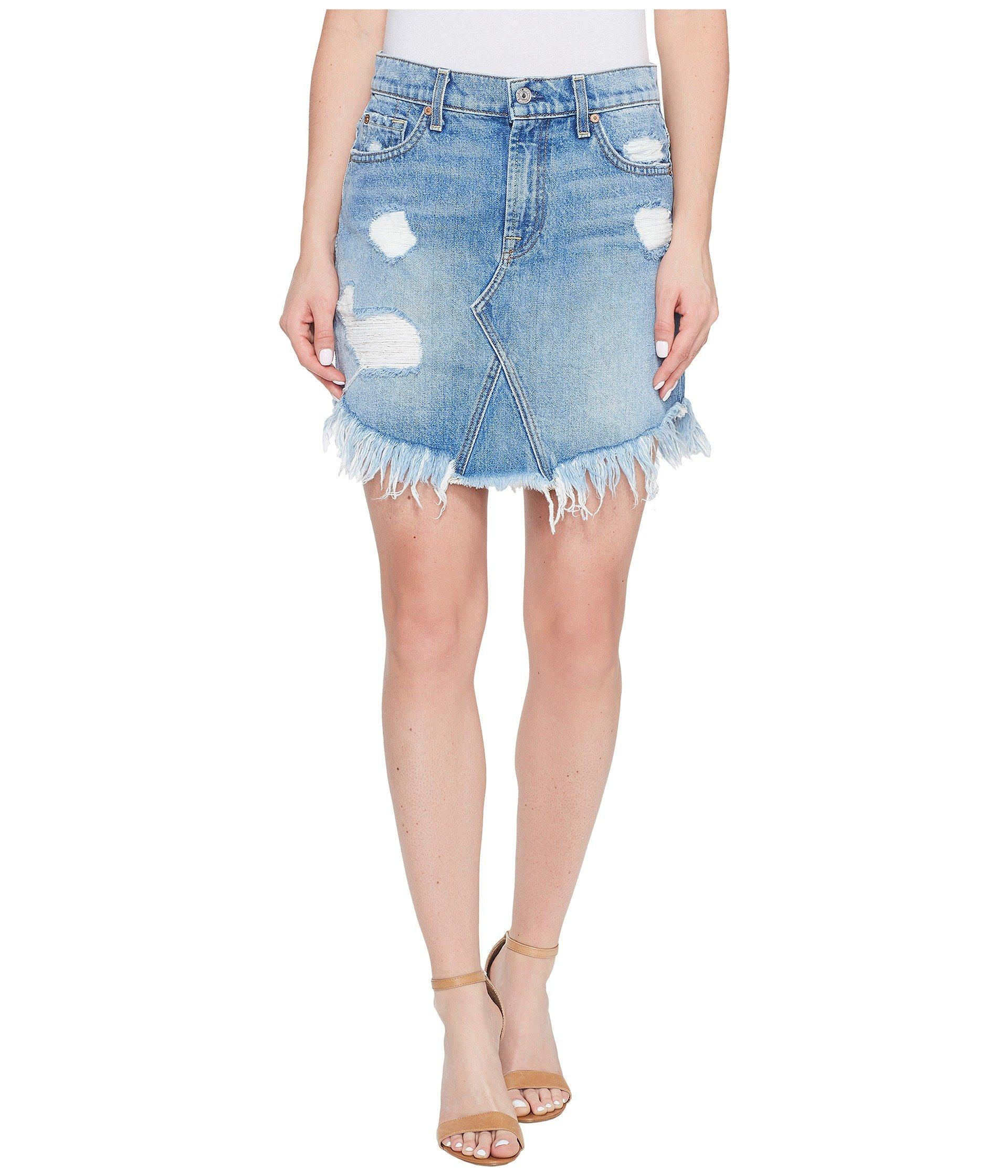 7 For All Mankind Distressed Mini Skirt W/ Scallop Raw-Hem, White In Vintage Wythe 3