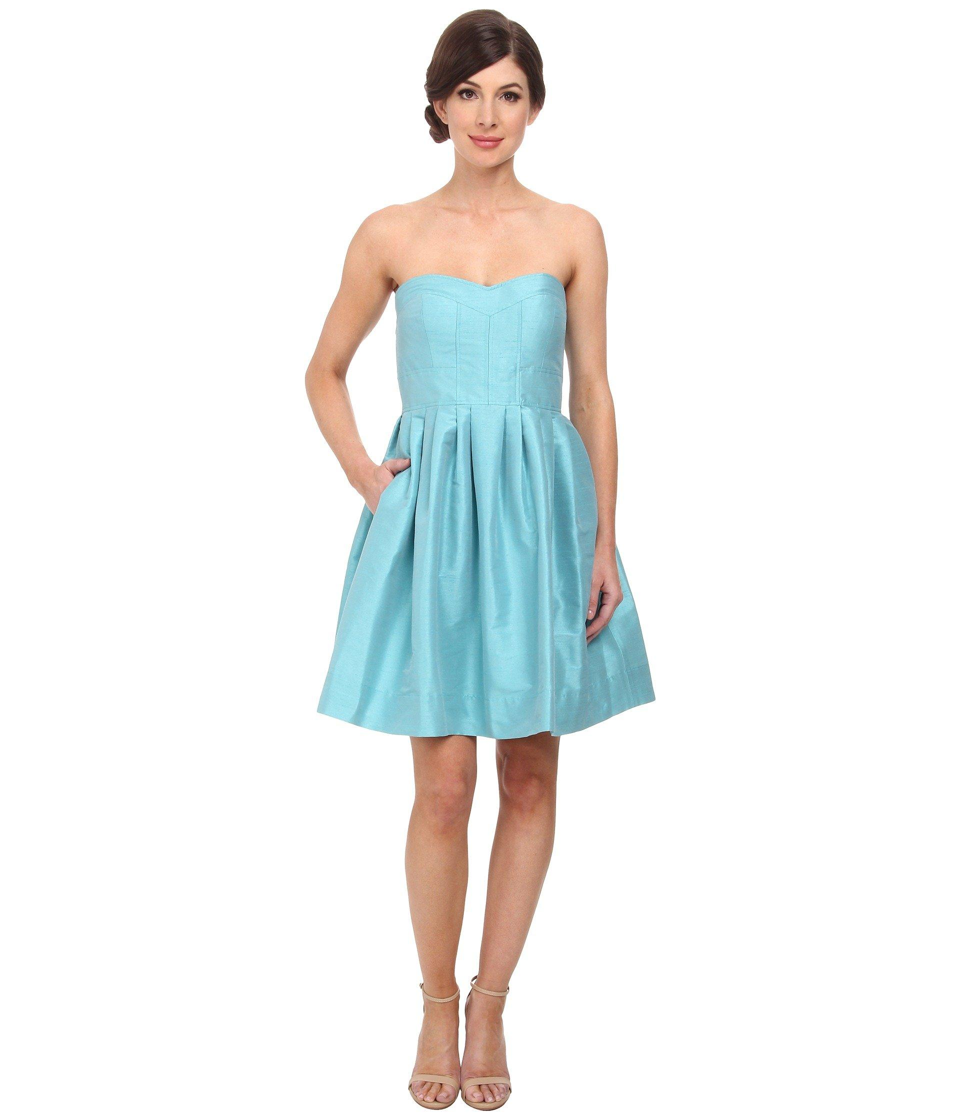 Shantung Turquoise Seamed Madison Bodice Strapless In f76Ybgyv