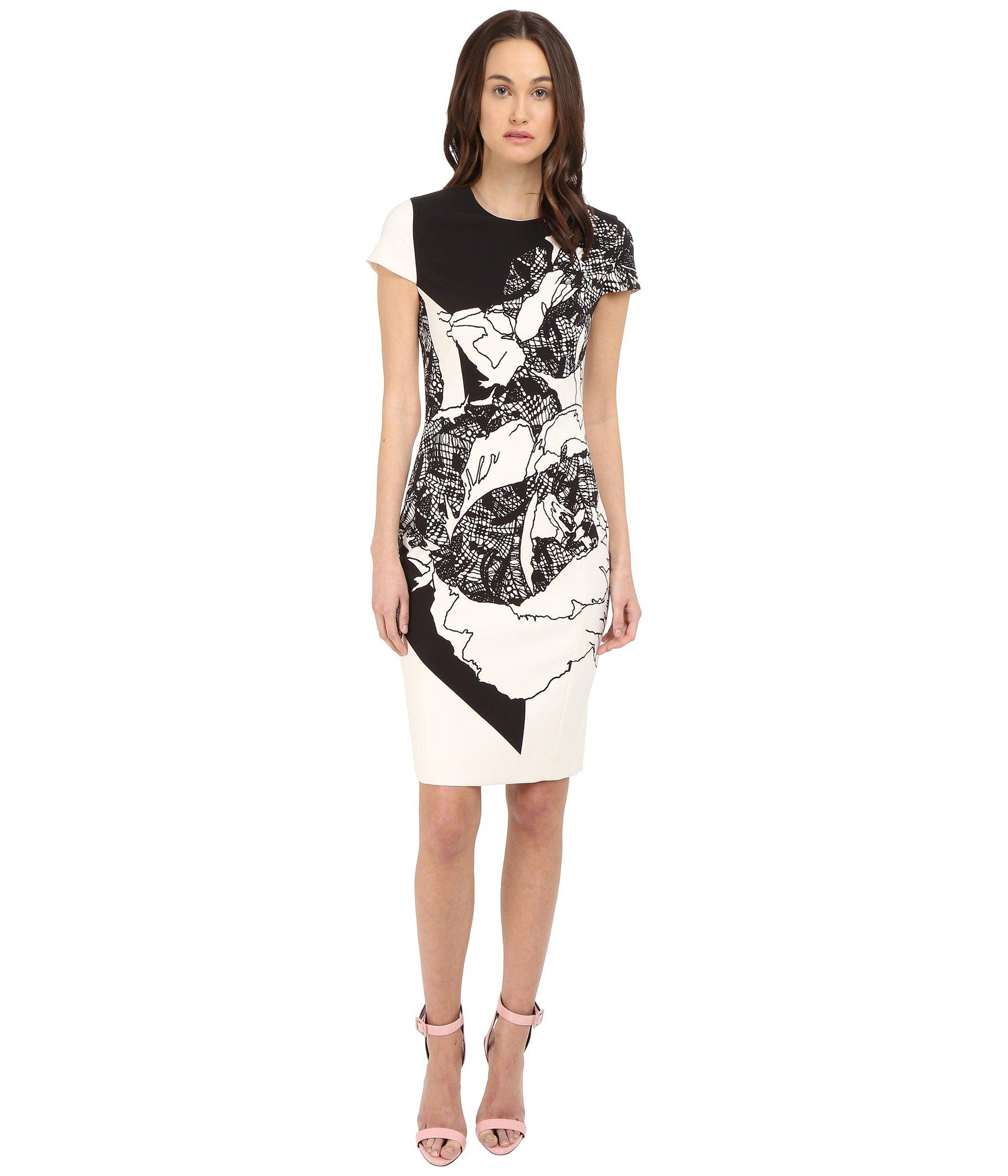 4e0c08f82 Prabal Gurung Multi Floral Lace Print Short Sleeve Dress In Black White  Floral Lace Print