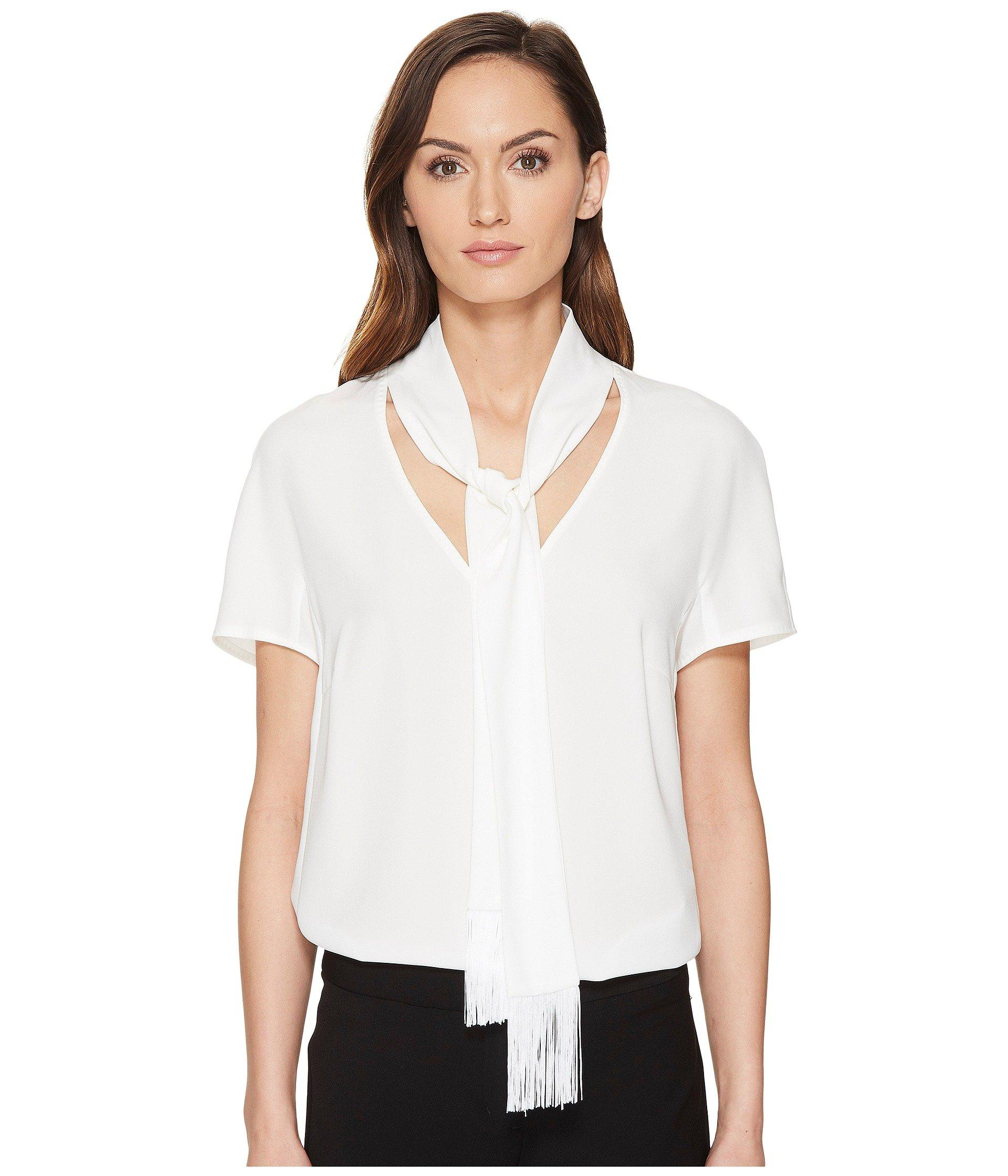 Escada Naxanefa Short Sleeve Blouse In Off-White