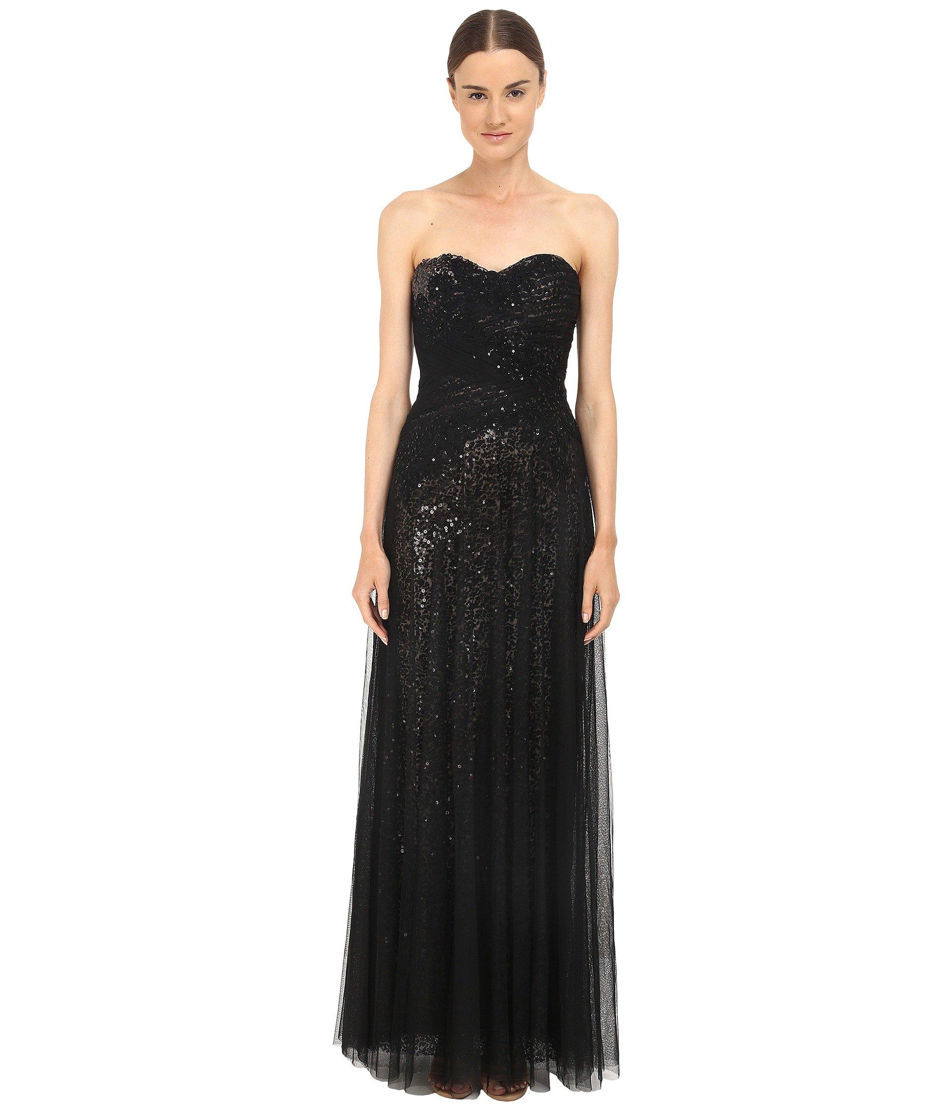Marchesa Notte Sequin Gown W/ Draped Tulle Overlay, Black
