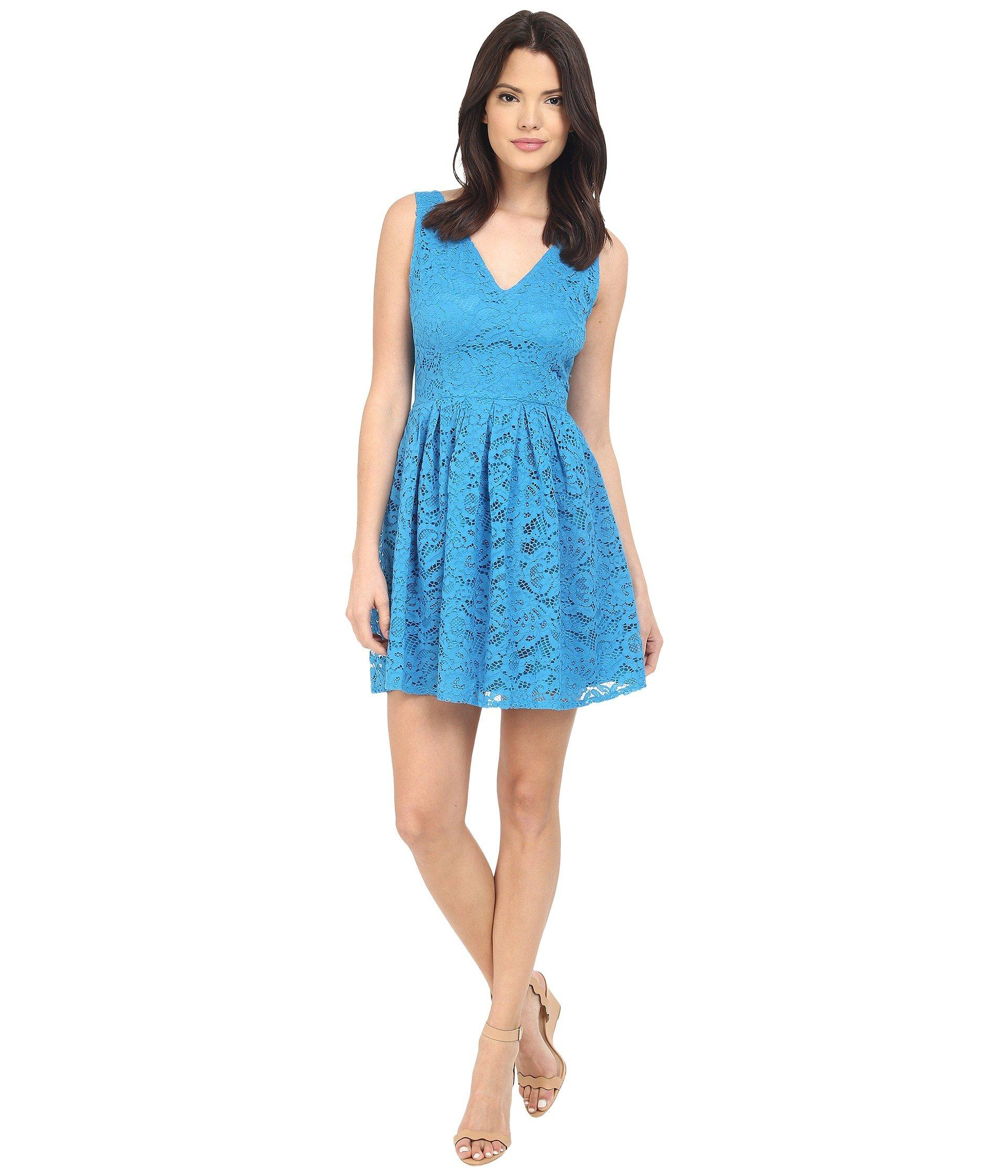 Kerry Lace V Neck Dress In Sea Blue