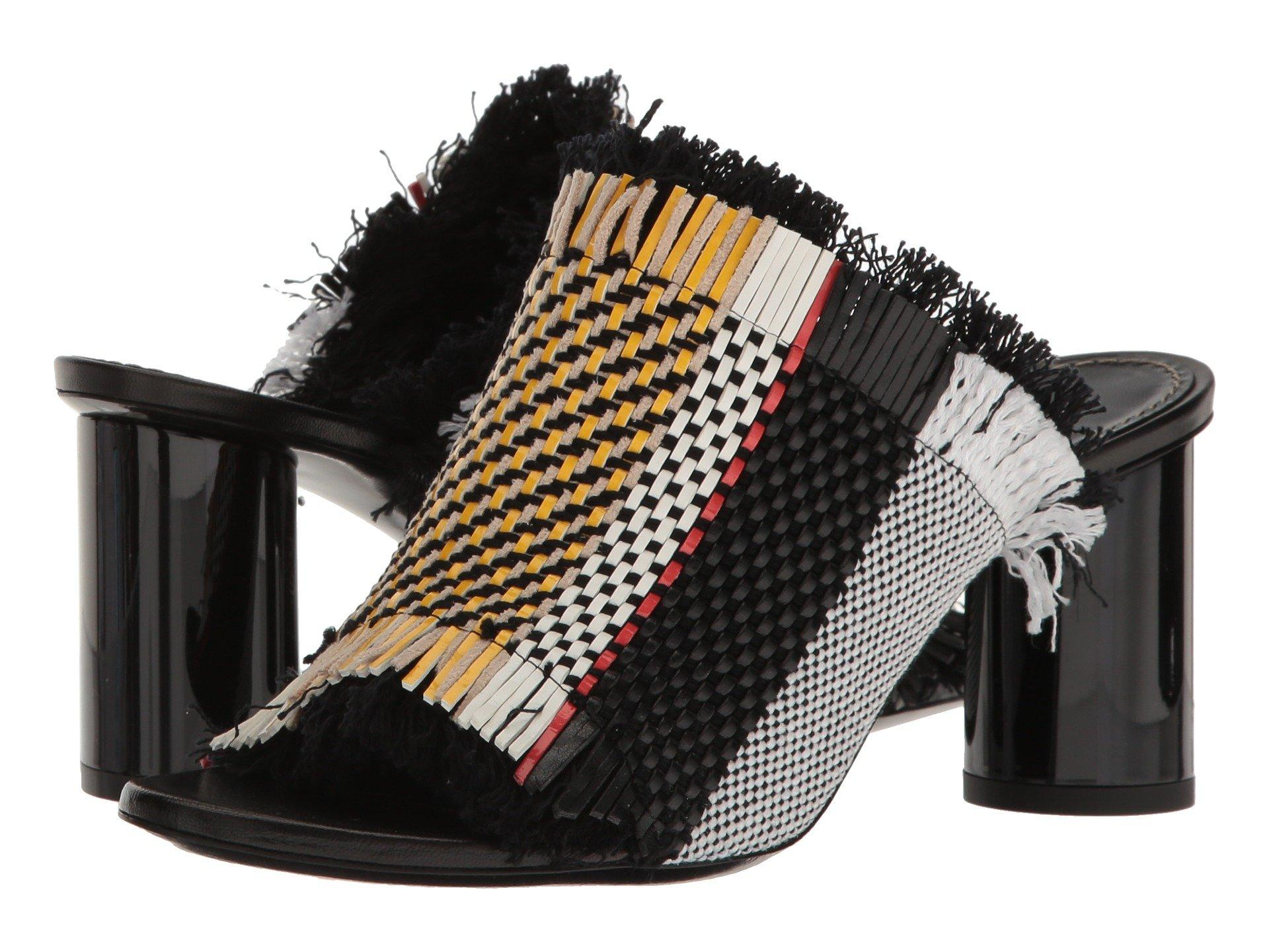 Proenza Schouler Woven Leather And Canvas Block-Heel Sandals In Multi