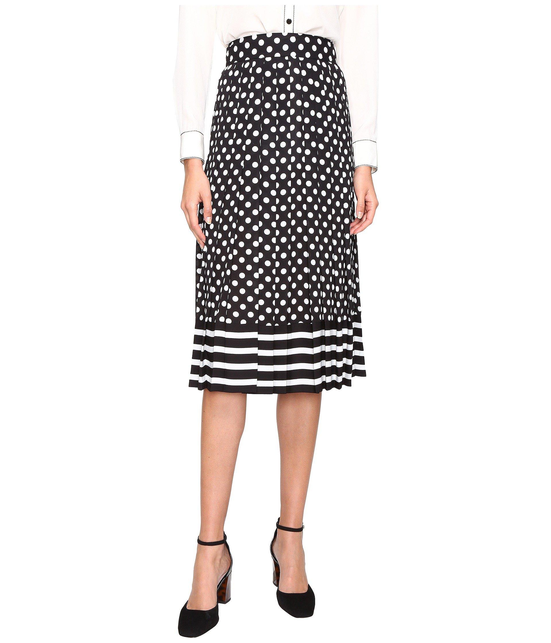 db1df5a6c9db Kate Spade Dot Stripe Pleated Skirt In Black/Cream | ModeSens