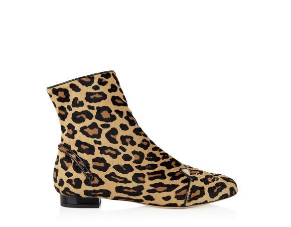 Charlotte Olympia Woman Puss In Boots Leopard-Print Calf Hair Ankle Boots Animal Print In Printed%20Pony%2Fpatent_280_Leopard