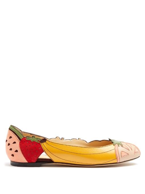 Charlotte Olympia Tutti Frutti Suede And Leather Flats In Multicoloured