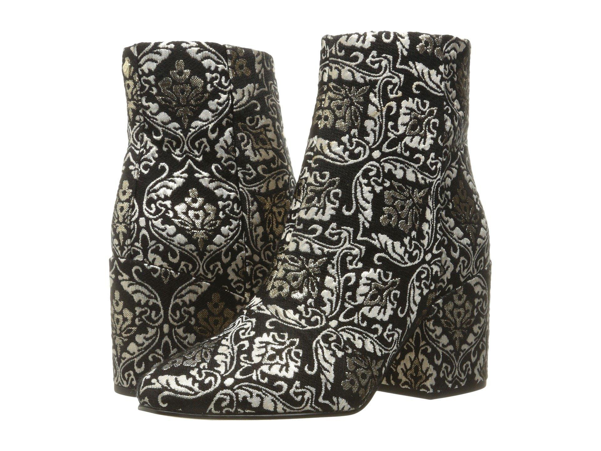 af8347d2f Sam Edelman  Taye  Floral Jacquard Velvet Ankle Boots In Wine