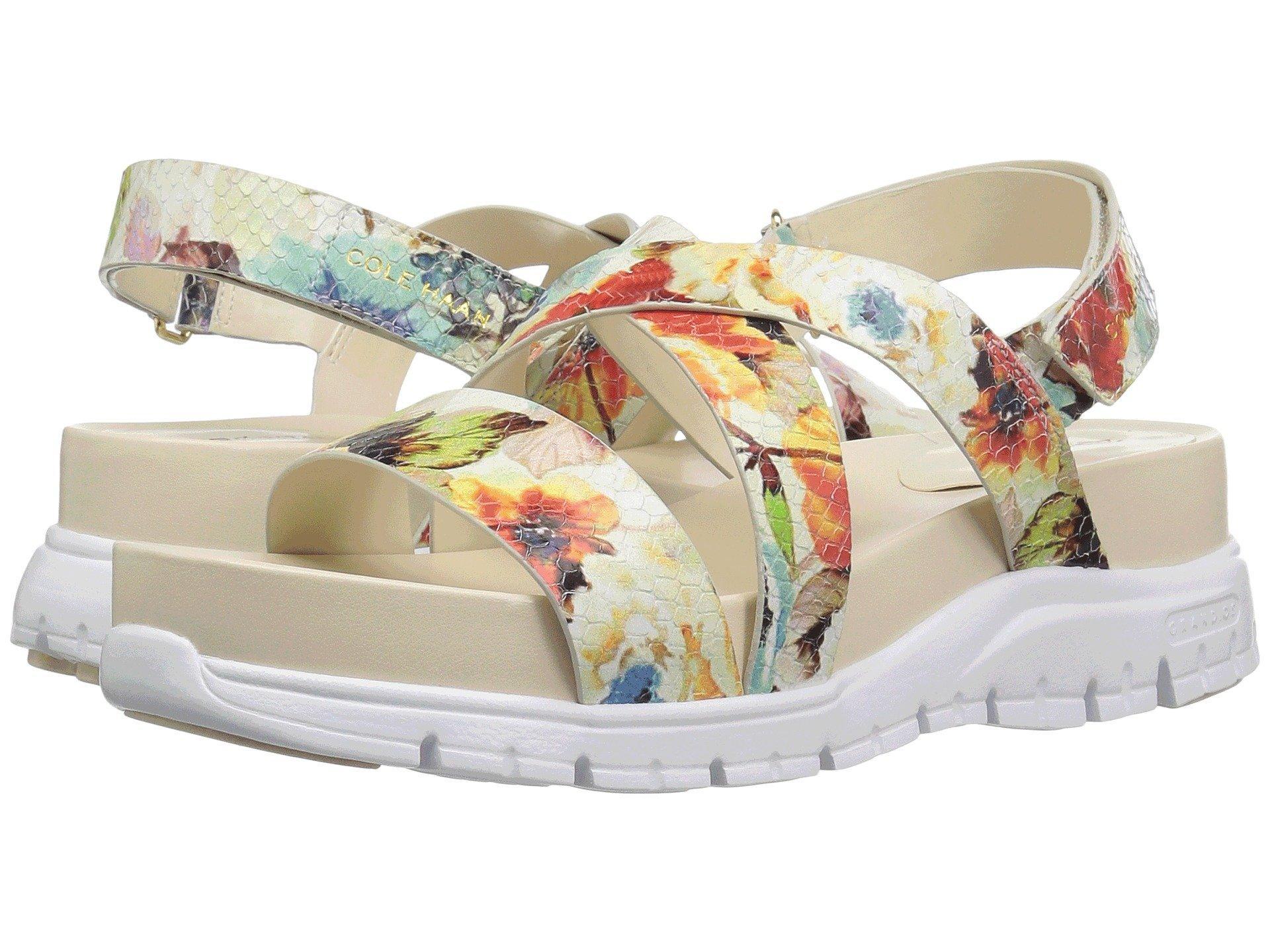 7c6e818e5 Cole Haan Zerogrand Crisscross Sandal (Bds) In Floral Print Optic White