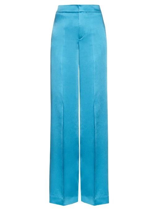 Etro Wide-leg Crepe De Chine Trousers In Blue
