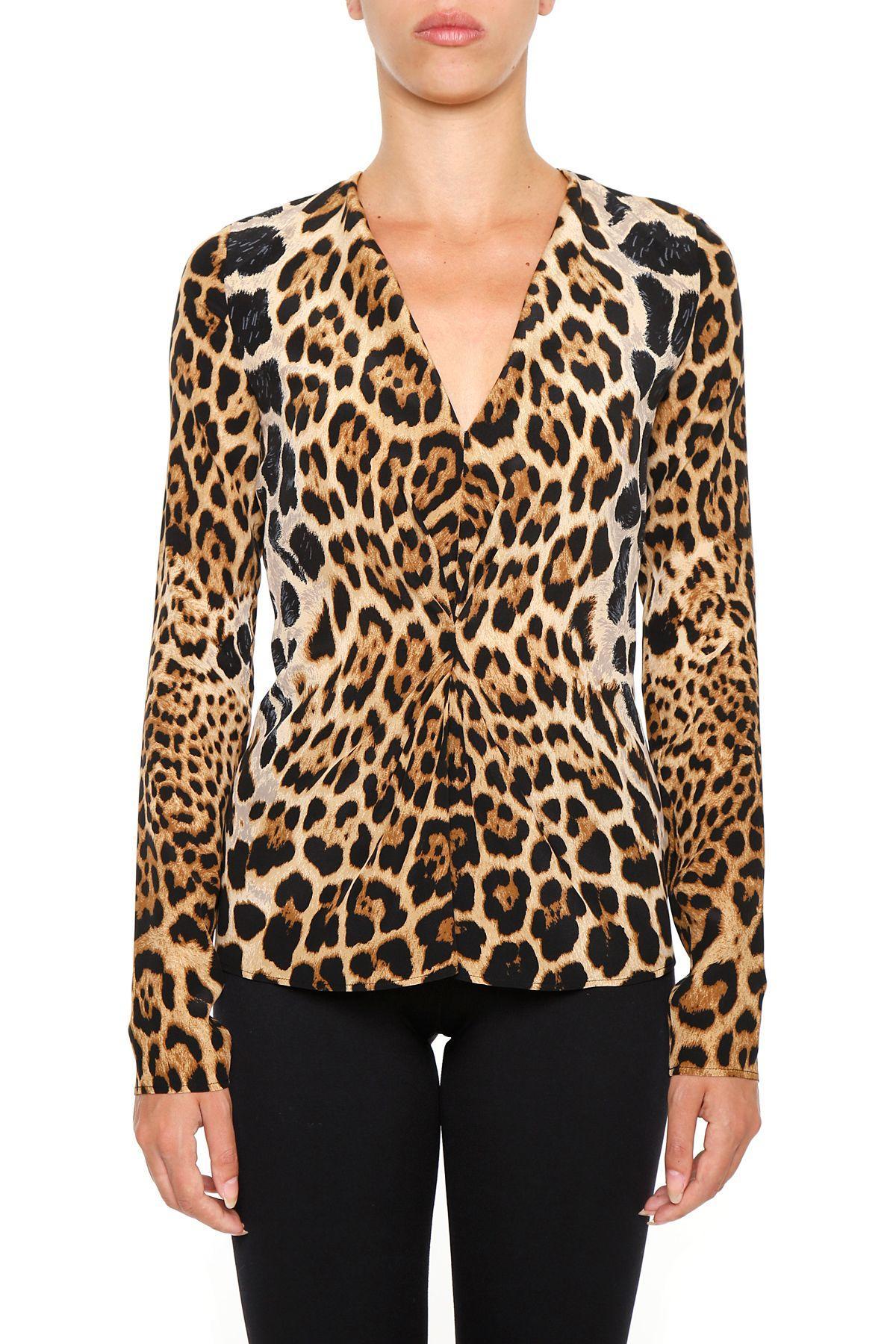 a2a058dc8f7 Saint Laurent Leopard Print Crepe Top In Fauvebeige | ModeSens