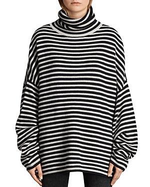 590ee3f90cb9 Allsaints Marcel Striped Turtleneck Sweater In Ink/Ecru White   ModeSens