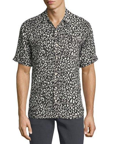 610400e487d9 Ovadia   Sons Camp Leopard-Print Short-Sleeve Shirt In Black White Leopa