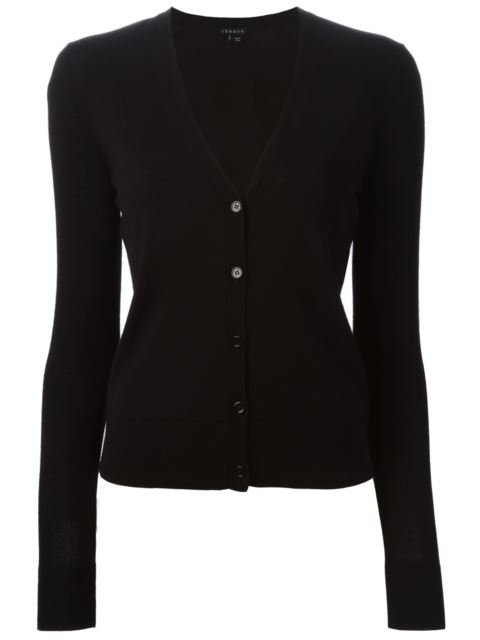 Theory Wool V-neck Cardigan In Black