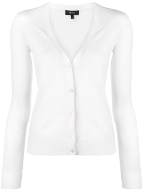 Theory Wool V-neck Cardigan In White