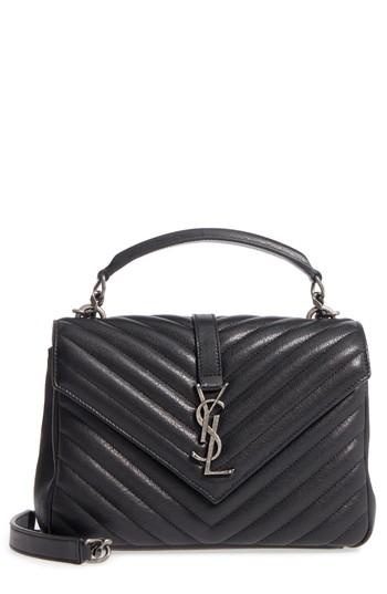 98a9a442686c Saint Laurent College Medium Monogram Ysl V-Flap Crossbody Bag - Silver  Hardware In 1000