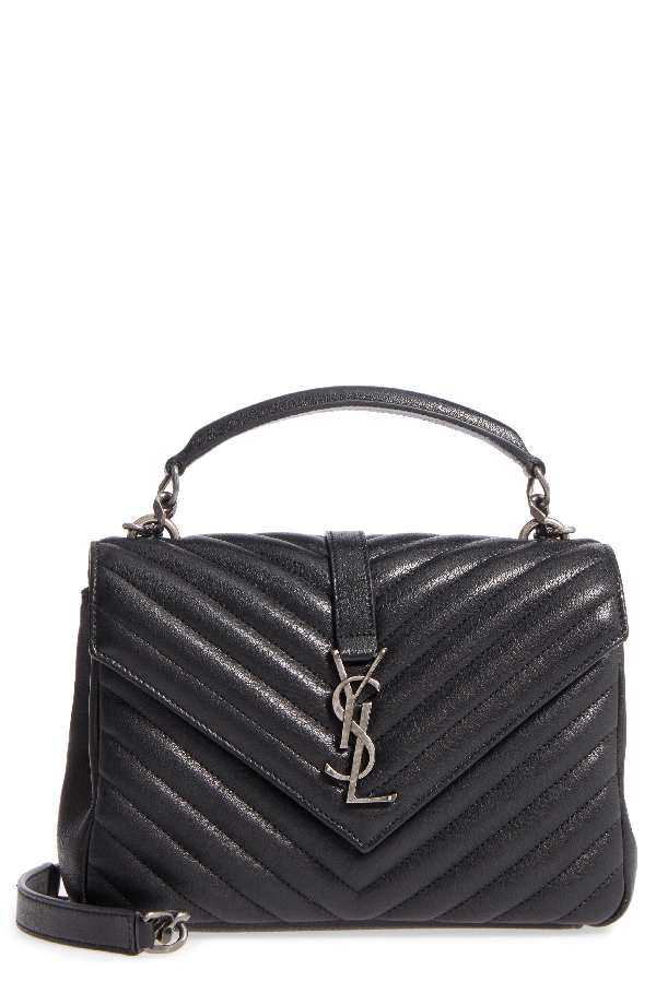 d71f76aa26e7 Saint Laurent College Medium Monogram Ysl V-Flap Crossbody Bag - Silver  Hardware In Noir