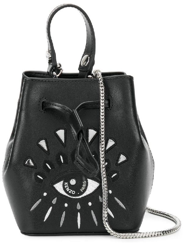 1194ed82c8 Kenzo Mini Eye Embroidery Leather Bucket Bag - Black | ModeSens