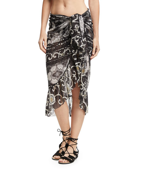 Fuzzi Printed Ruffle Wrap Skirt Pareo In Black