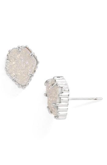 89be425ac Kendra Scott Tessa Stone Stud Earrings In Rhodium/ Iridescent Drusy ...