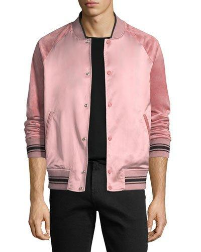 b871e4577 Satin & Velour Bomber Jacket in Pink