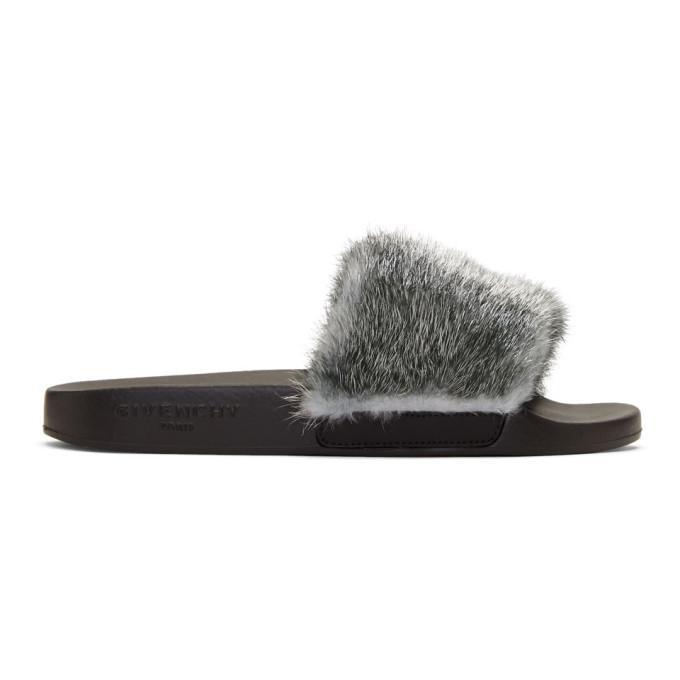7811e338524 Givenchy Women S Mink Fur Slide Sandals In 040 Silver