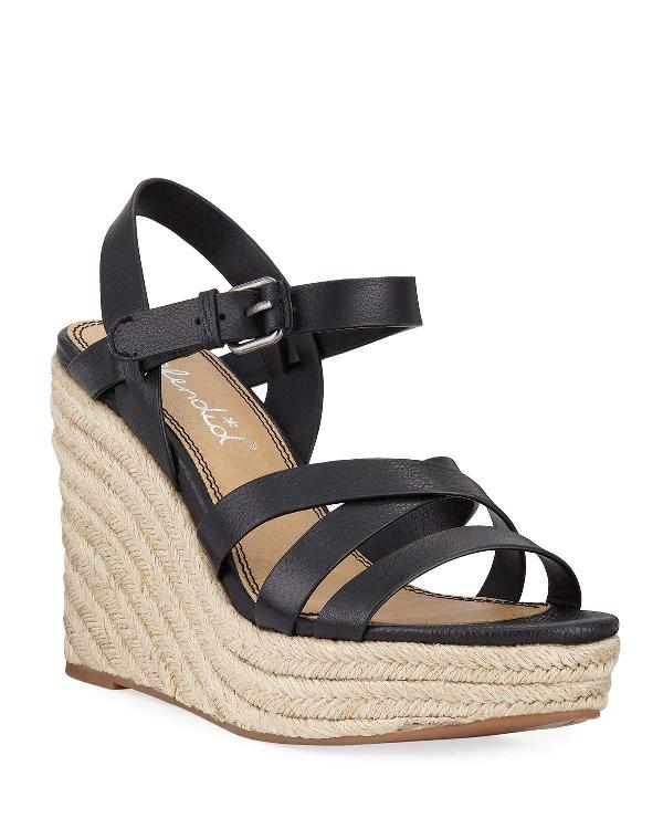 06c77133741 Women's Billie Leather Platform Wedge Espadrille Sandals in Black