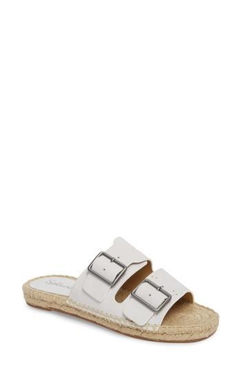 68d864fffff2 Splendid Women s Blake Leather Espadrille Slide Sandals In White Leather