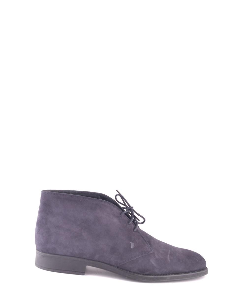 Tod's Men's  Blue Suede Ankle Boots
