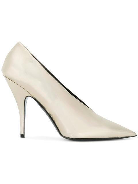 d0ca37bcaa71 Iridescent faux-leather pumps in magnesium gold-tone. Pointed toe. Faux- leather lining in black. Covered stiletto heel. Faux-leather sole in black.