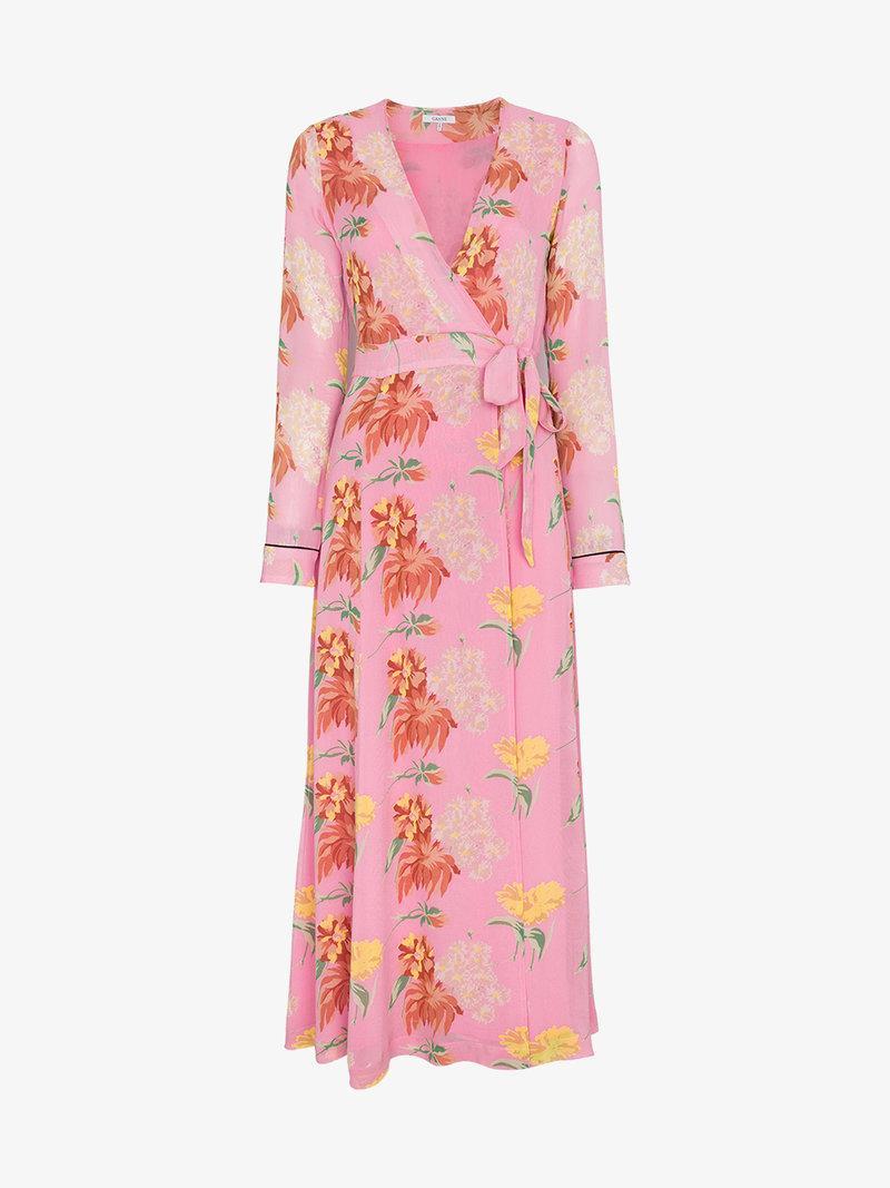 1e78b28c Ganni Pink Floral Marceau Georgette Midi Dress In Pink&Purple | ModeSens