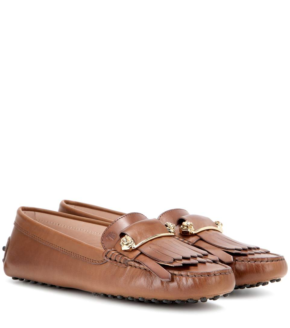 Tod's Gommini Frangia Macro Spilla Leather Loafers In Brown