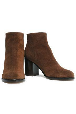 Helmut Lang Woman Brushed-Suede Ankle Boots Brown
