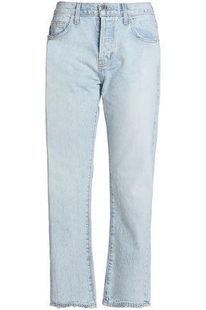 Current Elliott Current/Elliott Woman Frayed Mid-Rise Straight-Leg Jeans Light Denim