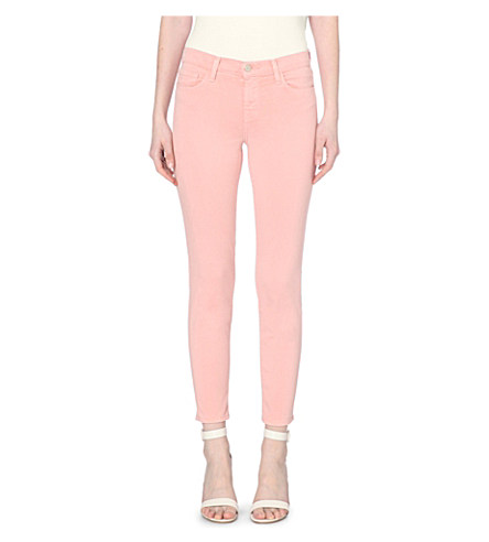 J Brand 835 Mid Rise Capri Jeans In Vinca Destruct In Pink Lace
