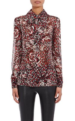 Saint Laurent Paris Collar Shirt In Shell, Red And Black Leopard Printed Silk Georgette In Black/Red/White