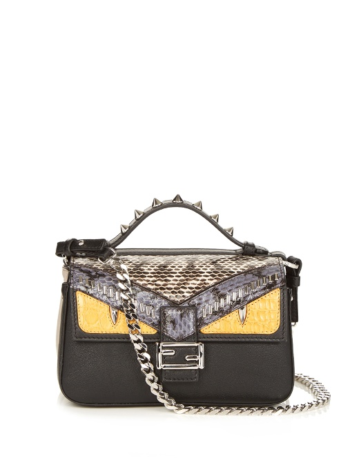 c82a0dfc Double Baguette Micro Elaphe And Crocodile-Paneled Leather Shoulder Bag in  Black Multi