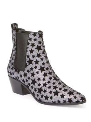 24ca32f47c029 Saint Laurent Rock 40 Chelsea Boot In Silver Glitter Fabric And Black  Velvet Stars In Platinum