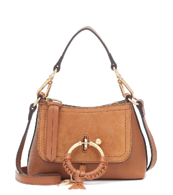 See By ChloÉ See By Chloe Joan Mini Leather & Suede Hobo In Brown