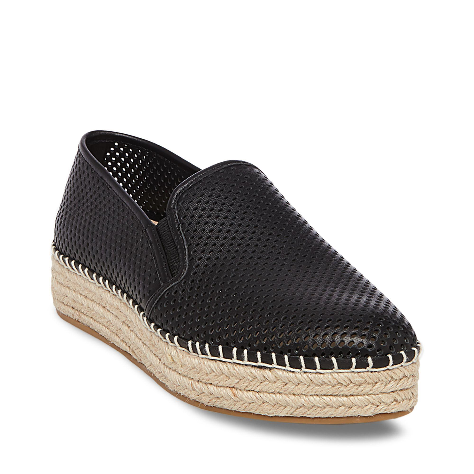485507eec4e Wright Perforated Platform Espadrille in Black Leather