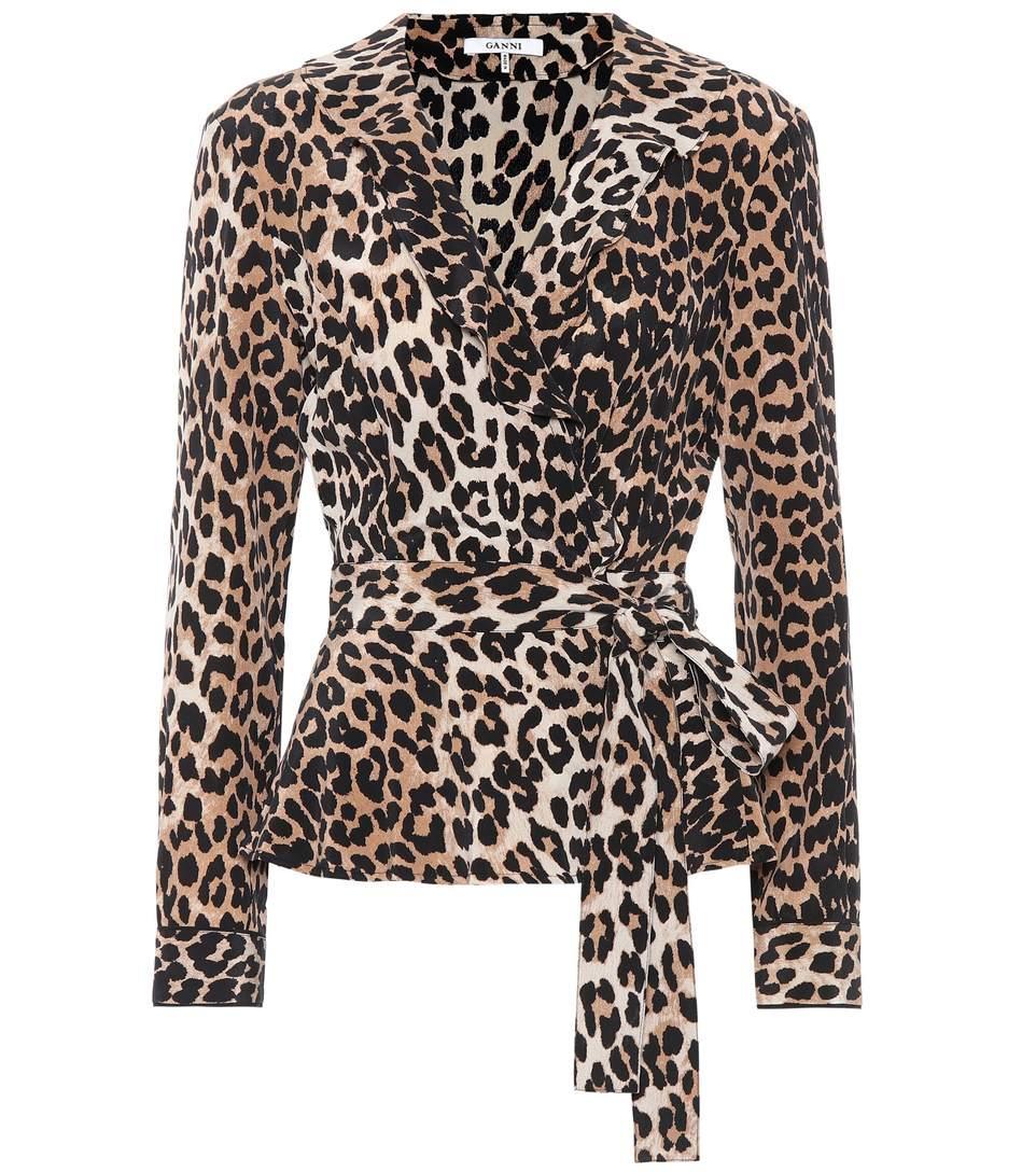 db0a0de38537da Ganni Ruffled Leopard-Print Silk Wrap Top In Brown
