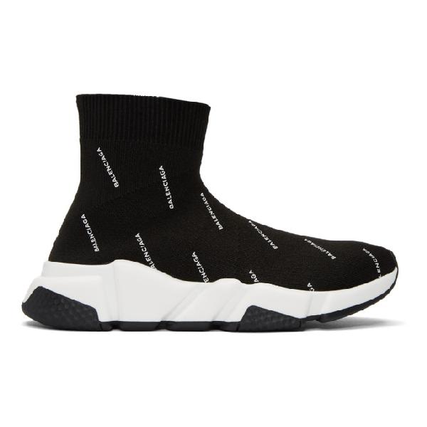 c2edc305574 BALENCIAGA Men's Speed Signature Mid-Top Trainer Sock Sneakers in Black. Balenciaga  Men