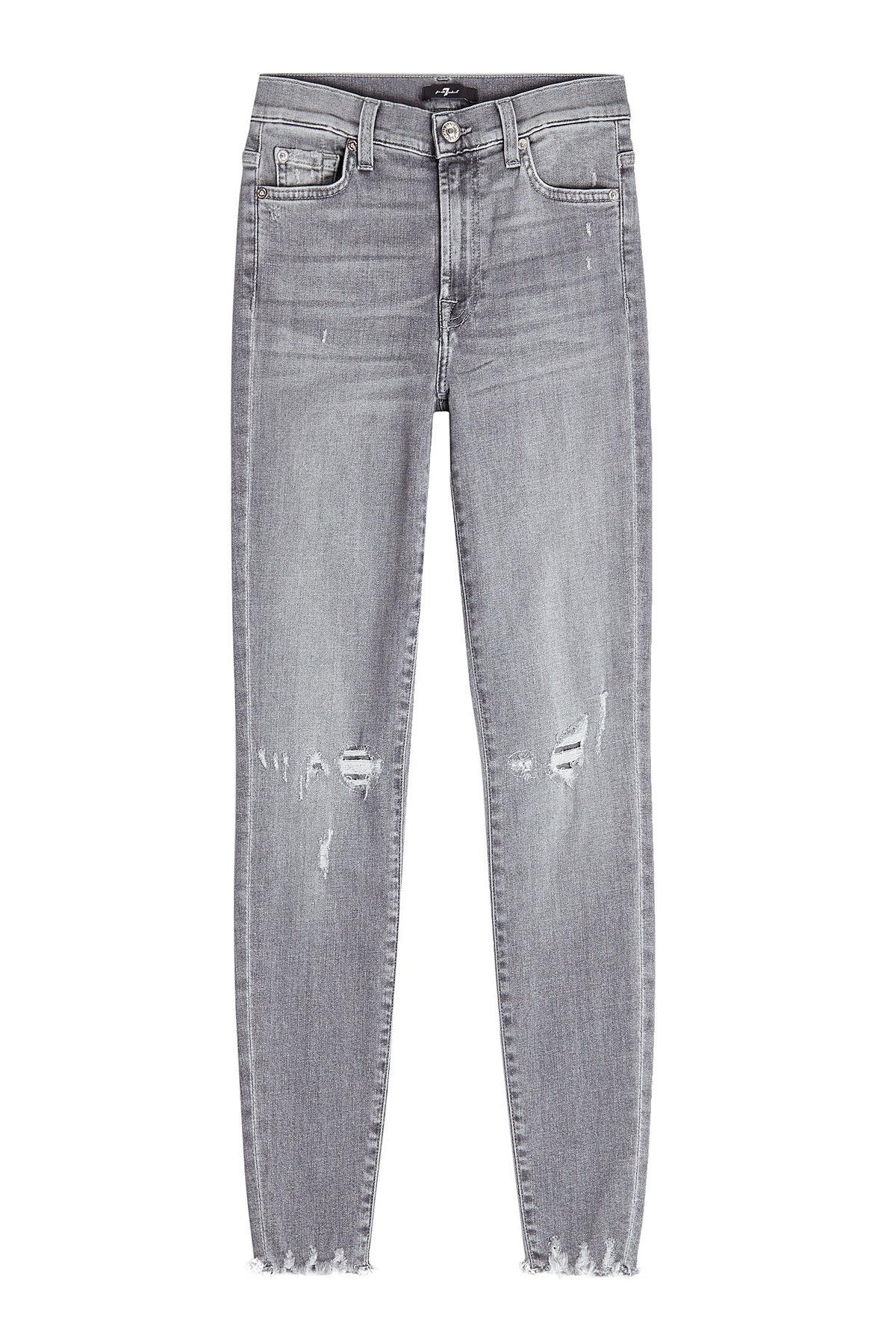 18471f1c649 7 For All Mankind High Waisted Cropped Skinny Jeans In Grey | ModeSens