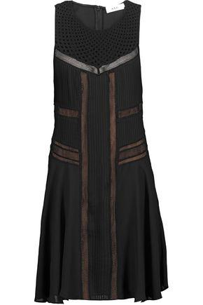 A.L.C Woman Elin Crochet-Paneled Pintucked Silk Crepe De Chine Mini Dress Black