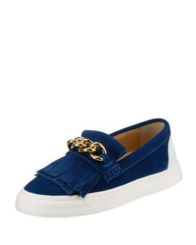 Giuseppe Zanotti Suede Low-Top Chain Kiltie Sneakers In Blue
