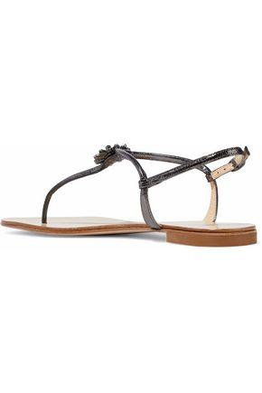 Giuseppe Zanotti Woman Embellished Metallic Snake-Effect Leather Sandals Anthracite